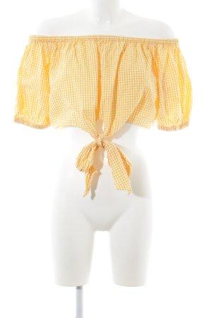 Zara Trafaluc Carmen blouse wit-donkergeel geruite print casual uitstraling