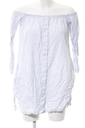 zara trafaluc vestido tipo blusón blanco azul estampado a