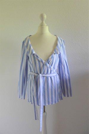 Zara Trafaluc Collection Bluse Wickelbluse Blogger weiß blau gestreift Gr. XS 34/36
