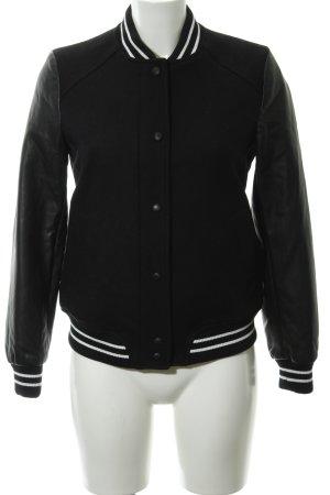 Zara Trafaluc Collegejacke schwarz-weiß College-Look