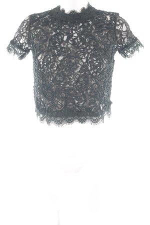 Zara Trafaluc Cropped Top waldgrün abstraktes Muster Spitzen-Optik