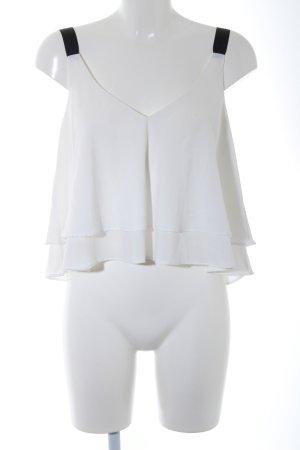 Zara Trafaluc Cropped Top wollweiß-schwarz Elegant