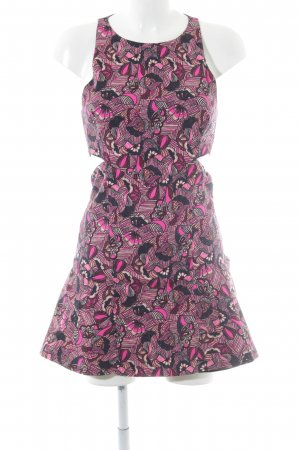 Zara Trafaluc Cut-Out-Kleid magenta-violett florales Muster Casual-Look