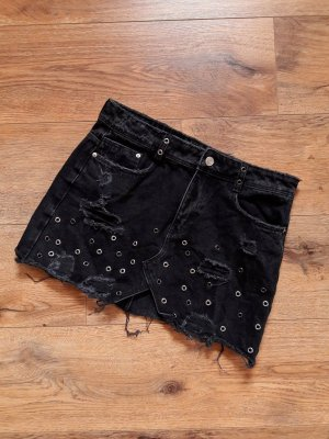 Zara Trafaluc Denimwear Destroyed Used Nieten Jeans Mini Rock dunkelgrau anthrazit Gr. M