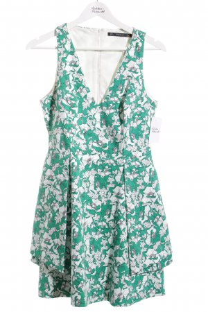 Zara Trafaluc Etuikleid weiß-grün florales Muster Street-Fashion-Look