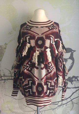 Zara Trafaluc Feinstrick-Pullover mit Fransen, Ethno-Muster, Gr. L (Gr. 42) Neu