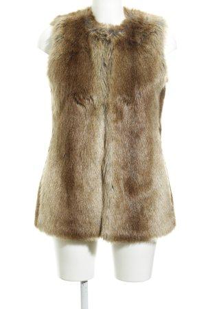 Zara Trafaluc Fellweste braun-beige Nadelstreifen Animal-Look