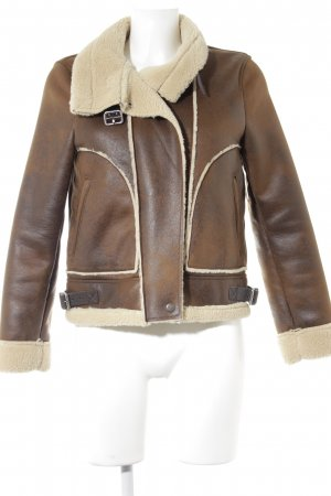 Zara Trafaluc Flight Jacket brown-pale yellow street-fashion look