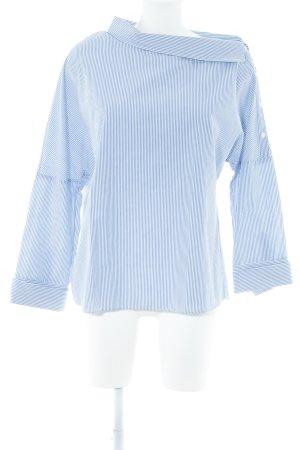 Zara Trafaluc Hemd-Bluse weiß-stahlblau Streifenmuster Business-Look