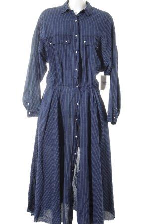 Zara Trafaluc Hemdblusenkleid dunkelblau-weiß Nadelstreifen Street-Fashion-Look