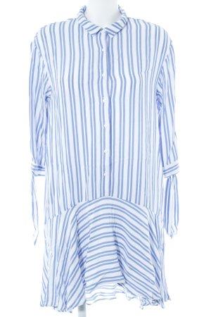 Zara Trafaluc Hemdblusenkleid weiß-kornblumenblau Streifenmuster Casual-Look