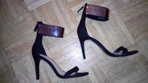 ***ZARA TRAFALUC High Heel Sandalette mit Fesselriemen in Silber**