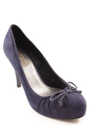Zara Trafaluc High Heels dunkelblau-silberfarben Party-Look