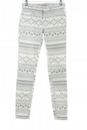Zara Trafaluc High Waist Trousers natural white-grey Aztec pattern casual look