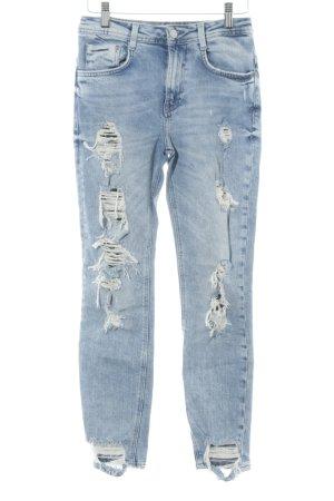 Zara Trafaluc High Waist Jeans kornblumenblau-himmelblau Bleached-Optik