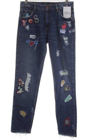 Zara Trafaluc High Waist Jeans stahlblau Comic-Look