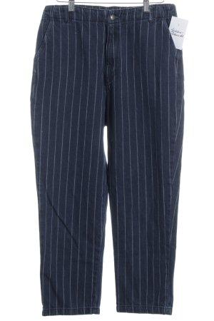 Zara Trafaluc High Waist Jeans weiß-dunkelblau Streifenmuster