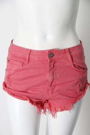 Zara Trafaluc High Waist Jean Shorts dark pink