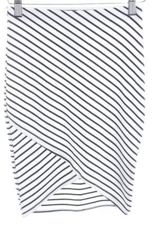 Zara Trafaluc High Waist Rock weiß-schwarz Streifenmuster Casual-Look