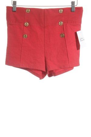Zara Trafaluc High-Waist-Shorts rot-goldfarben schlichter Stil