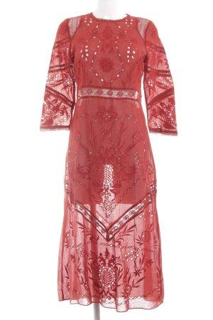 Zara Trafaluc Robe Hippie rouge motif abstrait style transparent