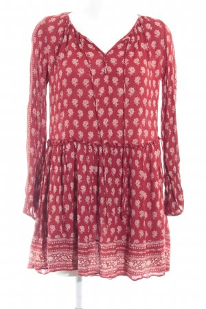 Zara Trafaluc Hippie Dress dark red-natural white floral pattern casual look