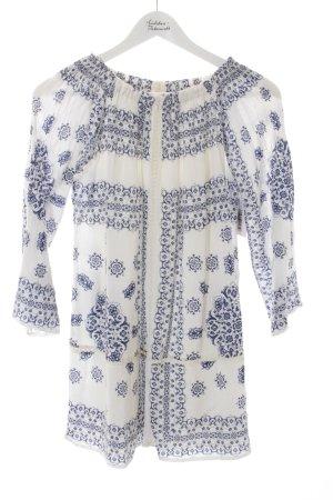 Zara Trafaluc Hippiekleid weiß-blau abstraktes Muster Casual-Look