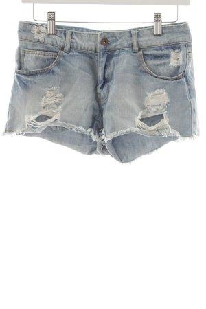 Zara Trafaluc Hot Pants stahlblau-himmelblau Casual-Look
