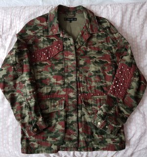 Zara Trafaluc Militair jack rood-olijfgroen