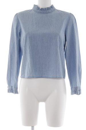 Zara Trafaluc Jeansbluse blau-blassblau meliert Jeans-Optik