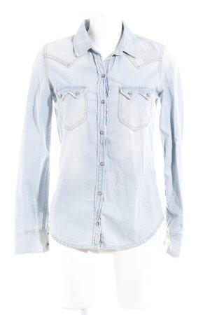 Zara Trafaluc Jeanshemd blassblau Jeans-Optik