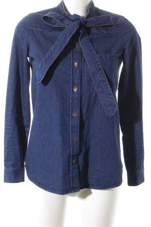 Zara Trafaluc Jeanshemd blau-hellorange minimalistischer Stil