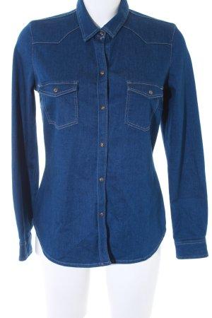 Zara Trafaluc Jeanshemd dunkelblau Jeans-Optik