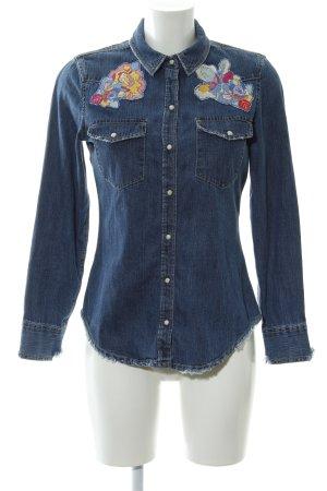 Zara Trafaluc Camicia denim motivo floreale stile jeans