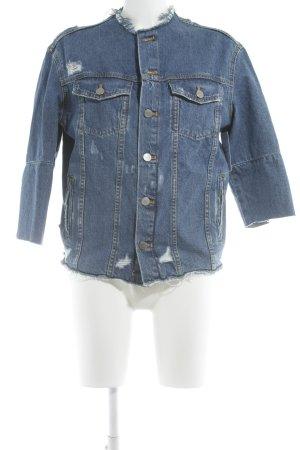 Zara Trafaluc Veste en jean bleu-rose Motif BD style boyfriend