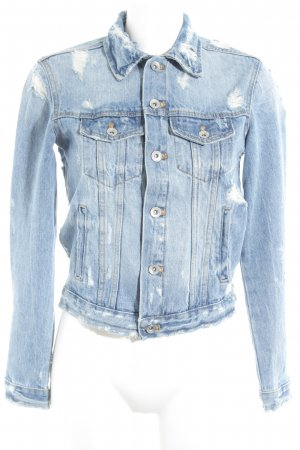 Zara Trafaluc Jeansjacke kornblumenblau-himmelblau Street-Fashion-Look