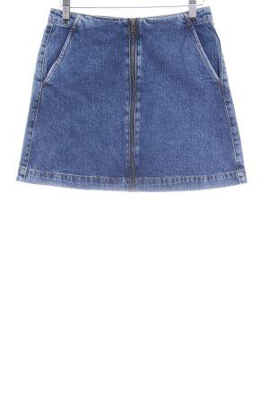 Zara Trafaluc Jeansrock dunkelblau-cognac Jeans-Optik