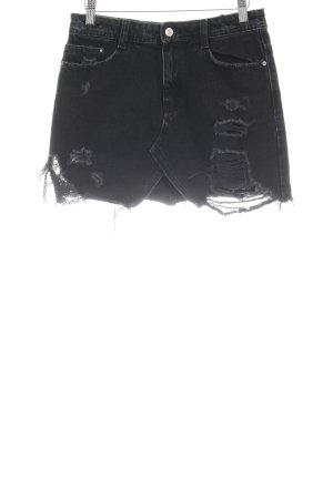 Zara Trafaluc Jeansrock schwarz Destroy-Optik