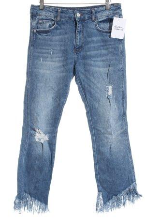 Zara Trafaluc Jeansschlaghose blau Used-Optik