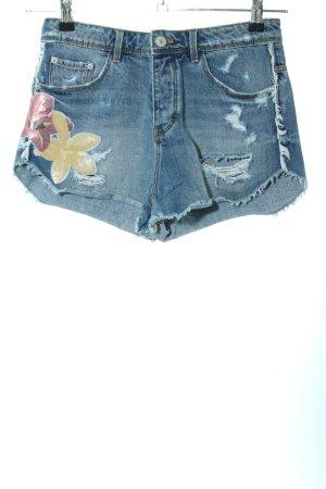 Zara Trafaluc Pantaloncino di jeans blu motivo floreale stile casual