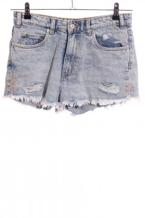 Zara Trafaluc Denim Shorts blue street-fashion look