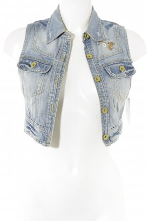 Zara Trafaluc Gilet en jean bleu azur-jaune primevère Aspect de jeans