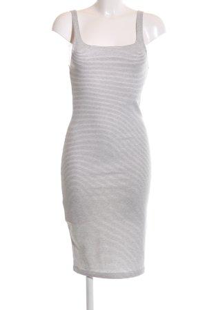 Zara Trafaluc Jerseykleid hellgrau-schwarz Streifenmuster Casual-Look