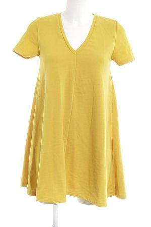 Zara Trafaluc Vestido de tela de jersey naranja dorado look casual