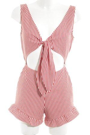 Zara Trafaluc Mono rojo blanco estampado a rayas look casual