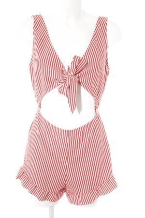 Zara Trafaluc Jumpsuit dunkelrot-weiß Streifenmuster Casual-Look