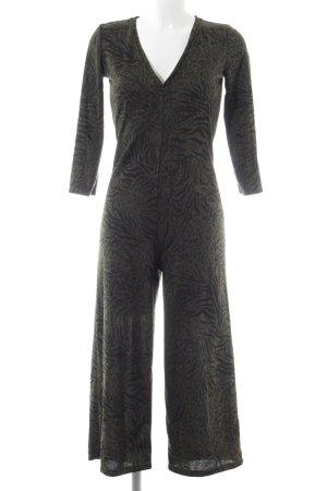Zara Trafaluc Jumpsuit khaki-black allover print business style
