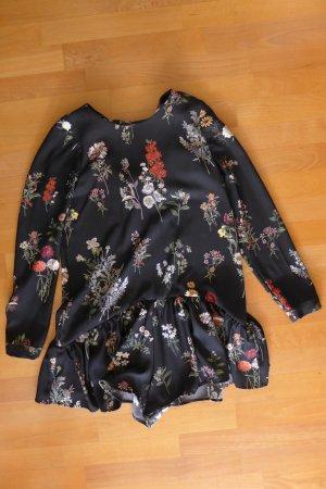 Zara Trafaluc Jumpsuit Overall Kleid Blumen Blüten schwarz Gr. XS neu