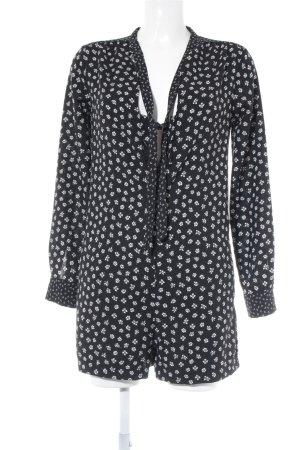 Zara Trafaluc Jumpsuit schwarz-weiß florales Muster Boho-Look