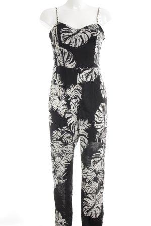 Zara Trafaluc Jumpsuit schwarz-weiß florales Muster Casual-Look